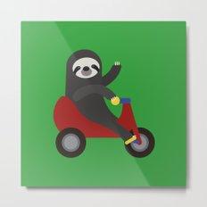 Sloth on Tricycle Metal Print