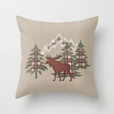 Moose in the Mountains Throw Pillow