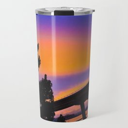 Colorful Sunset to end a Cloudy Day on Casco Bay Travel Mug