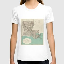 Vintage Map of Louisiana (1887) T-shirt