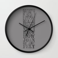 smiths Wall Clocks featuring NOW I KNOW HOW JOAN OF ARC FELT - TRIBUTE TO THE SMITHS by Livid Tees