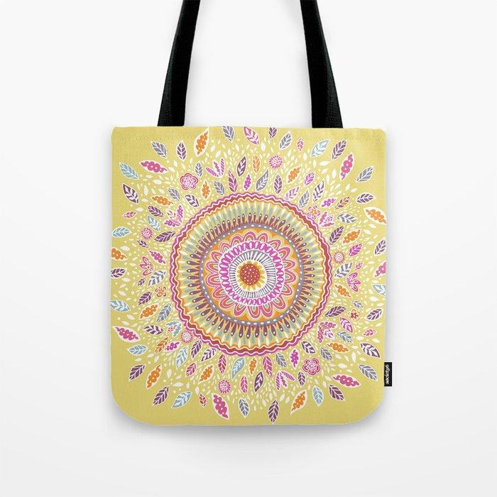 Yellow Sunflower Mandala Tote Bag