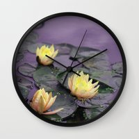 tinker bell Wall Clocks featuring tinker bell & tiger lilies by EnglishRose23