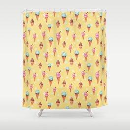 Watercolour Ice Cream Cones Shower Curtain