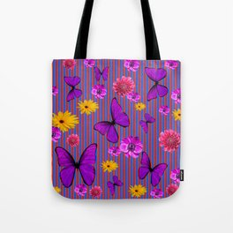 PURPLE BUTTERFLIES ASSORTED FLOWERS Tote Bag