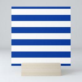 Dark Princess Blue and White Wide Horizontal Cabana Tent Stripe Mini Art Print