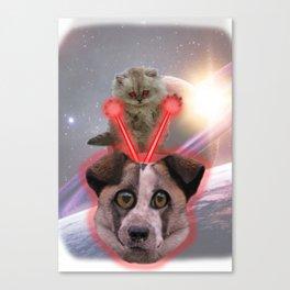 Laser Cat vs. Space Dog Canvas Print