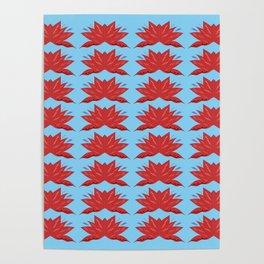 Red lotuses on blue art background Poster