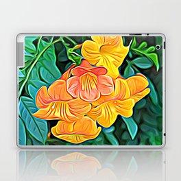 Orange Flowers of Flowing Circuitry Laptop & iPad Skin