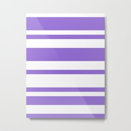 Mixed Horizontal Stripes - White and Dark Pastel Purple Metal Print
