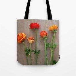 Orange Ranunculus flowers Tote Bag