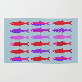 Colorful fish school pattern Rug