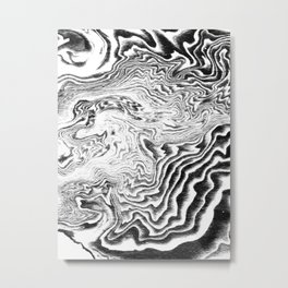 Suminagashi black and white marble spilled ink ocean swirl watercolor painting Metal Print