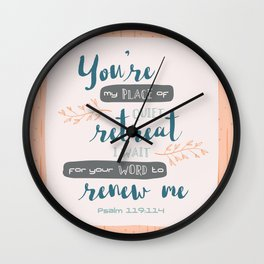 """Your Word Renews Me"" Hand-Lettered Bible Verse Wall Clock"