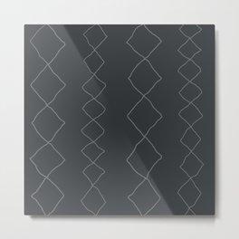 Moroccan Diamond Stripe in Charcoal Metal Print