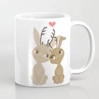 jackalope Mugs featuring Jackalope Love by Sara Showalter