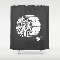 drum Shower Curtains featuring Beat of Your Drum by Piu & Tee