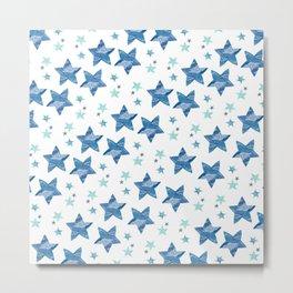 Twinkle little blue stars Metal Print