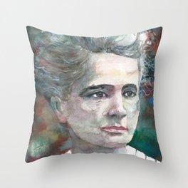 MARIE CURIE - watercolor portrait.2 Throw Pillow