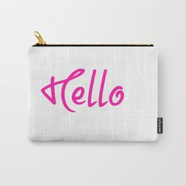 Hello Pink And White Carry-All Pouch