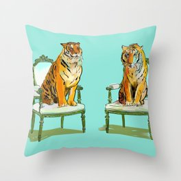 animals in chairs # 21 The Tigers Throw Pillow