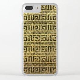 Vintage Gold  Greek Meander Pattern Clear iPhone Case