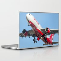 airplanes Laptop & iPad Skins featuring Air Berlin Airbus A330-223 Take-off Miami airplanes USA D-ALPJ by Yan David