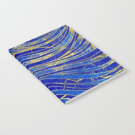 Lapis Lazuli and gold vaves pattern Notebook
