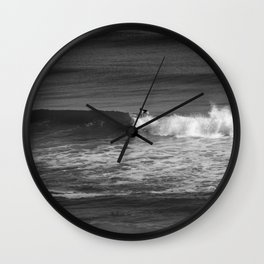 Surfer in Black and White Wall Clock