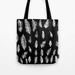 Feather Pattern Gothic Witch Pattern Black & White Tote Bag