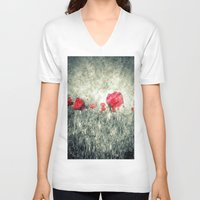 letters V-neck T-shirts featuring Poppies & Letters by ARTbyJWP