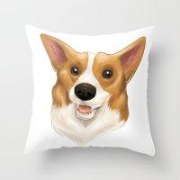 corgi Throw Pillows featuring Corgi by Alba Ferrari