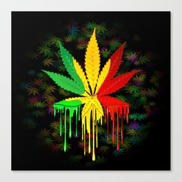 Marijuana Leaf Rasta Colors Dripping Paint Canvas Print