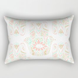 Modern girly pink mint gold Hamsa hand of fatima Rectangular Pillow