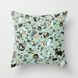 Mustelids from Spain pattern Throw Pillow