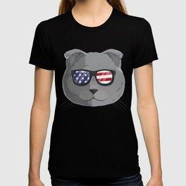 Patriotic Scottish Fold Cat Kitty Merica American Flag T-shirt