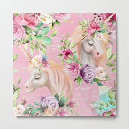 Unicorn Fantasy-Unicorn with Flower Metal Print