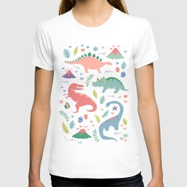 Dinos + Volcanoes - Coral T-shirt
