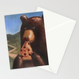 Bear Eating Pizza Stationery Cards