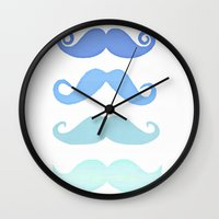 moustache Wall Clocks featuring Moustache by Amy Copp