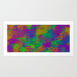purple pink green and orange kisses lipstick abstract background Art Print