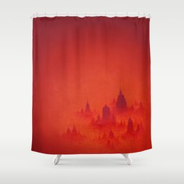 Red City Dusk Archival Giclee Print - Red Modern Art for the Office - Contemporary Wall Art Shower Curtain