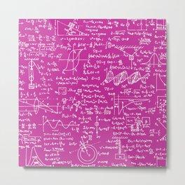 Physics Equations on Pink Metal Print