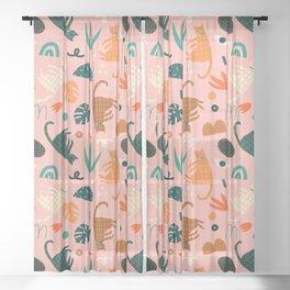 Cats Sheer Curtain