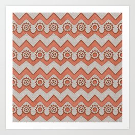 Chevrons and Sprockets - Raw Copper and Grey Repeating Pattern Art Print