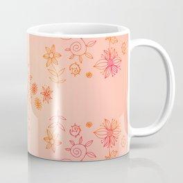 Summer dream flower bed - orange and cerise on gradient coral Coffee Mug