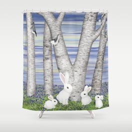 nuthatches, bunnies, and birches Shower Curtain