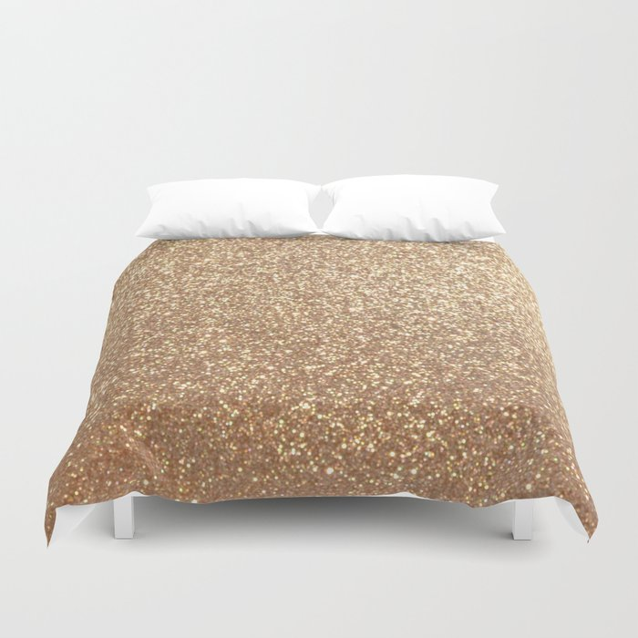 Copper Rose Gold Metallic Glitter Duvet Cover