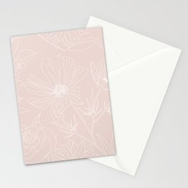 Trendy White Flowers outlines Blush Pink design Stationery Cards