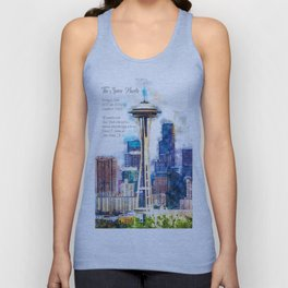 Space Needle, Watercolor Unisex Tank Top